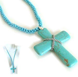 ketting met blauw stenen kruis -SMADA® Trading