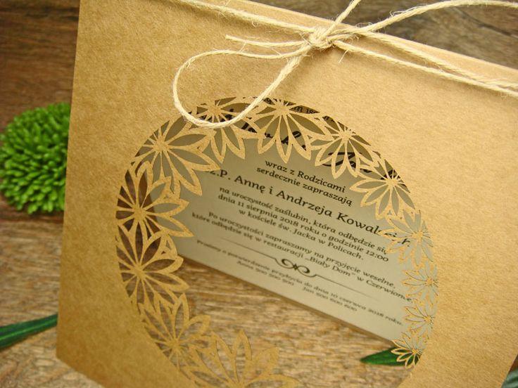 zaproszenia ślubne eko z kolekcji Ogród Alicji wzór  65      Zaproszenia ślubne laserowe, kartki 3D