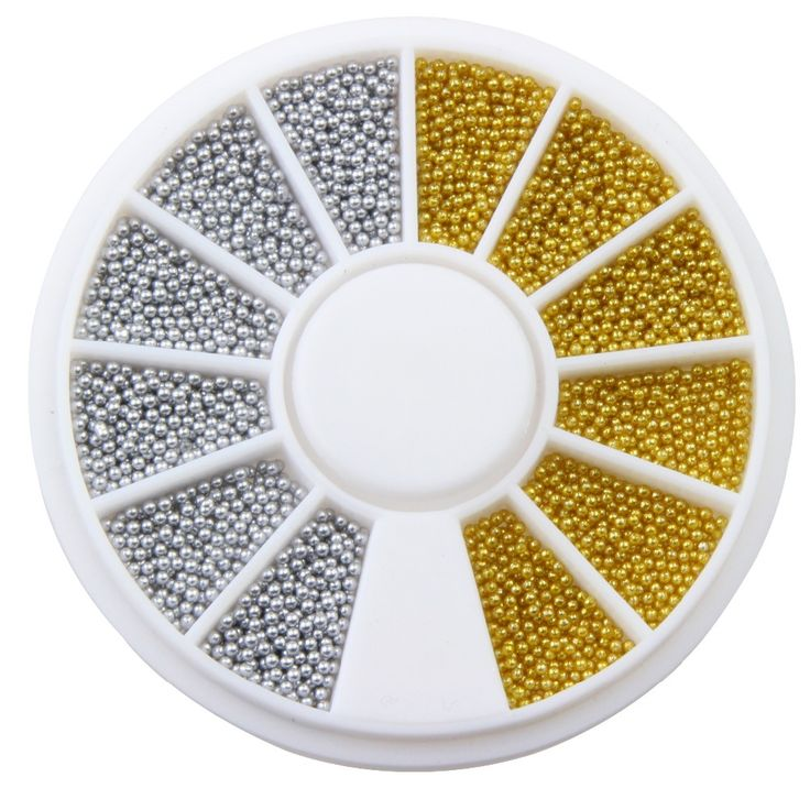 Gold Silver Plated Tiny Circle Beads Plastic 3D Nail Art Caviar Nail Wheel Manicure Tools Fingernail Decorations Supply WY185