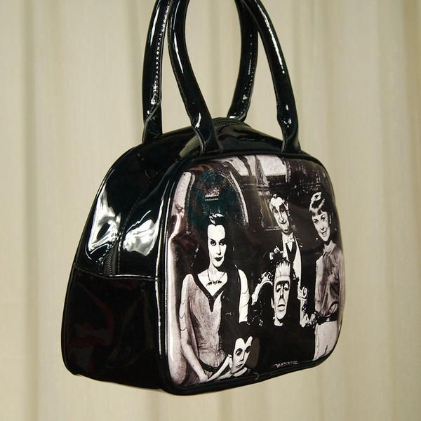The Munster Family Handbag by Rock Rebel is officially licensed by Universal Pictures. This black vinyl handbag has Herman Munster, Lily Munster, Eddie Munsters