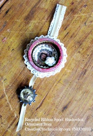Recycled Ribbon Spool Shadowbox Ornaments via Creative Cynchronicity #NUO2013