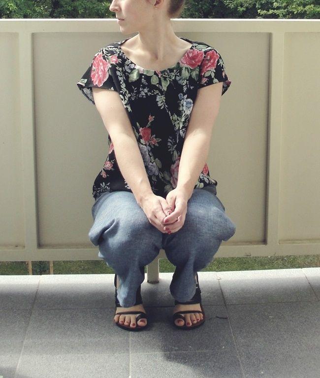 #floral #top #burda #sewing #DIY pleated blouse Burda 106 4/2013
