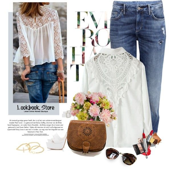 White lace shirt. by yexyka on Polyvore featuring H&M, Forever New and New Growth Designs