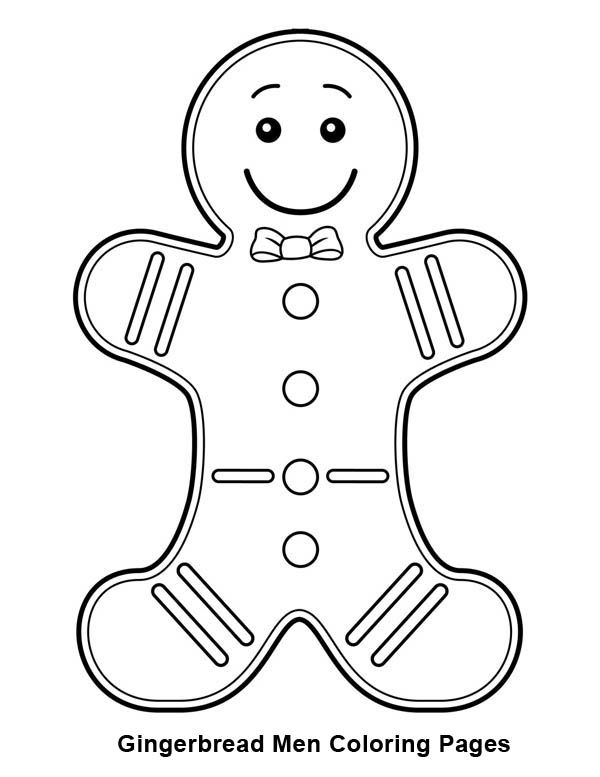Gingerbread Men Gingerbread Men With Bow Tie Coloring Page