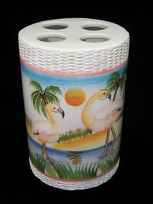 New pink flamingo tropical beach #toothbrush #holder ceramic #bathroom accessory ,  View more on the LINK: http://www.zeppy.io/product/gb/2/381541630546/