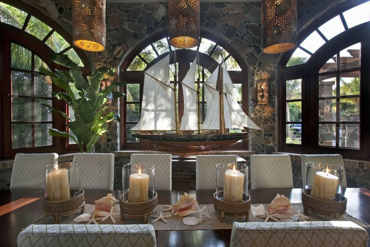Candle Holder decoration ideas gallery in Dining Room Tropical design ideas