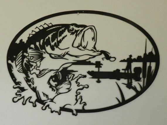 Bass+Fisherman++Metal+Wall+Art+by+SunsetMetalworks+on+Etsy,+$195.00