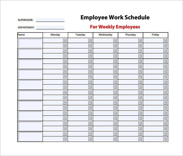 Office Employee Schedule Template 1 Important Life Lessons