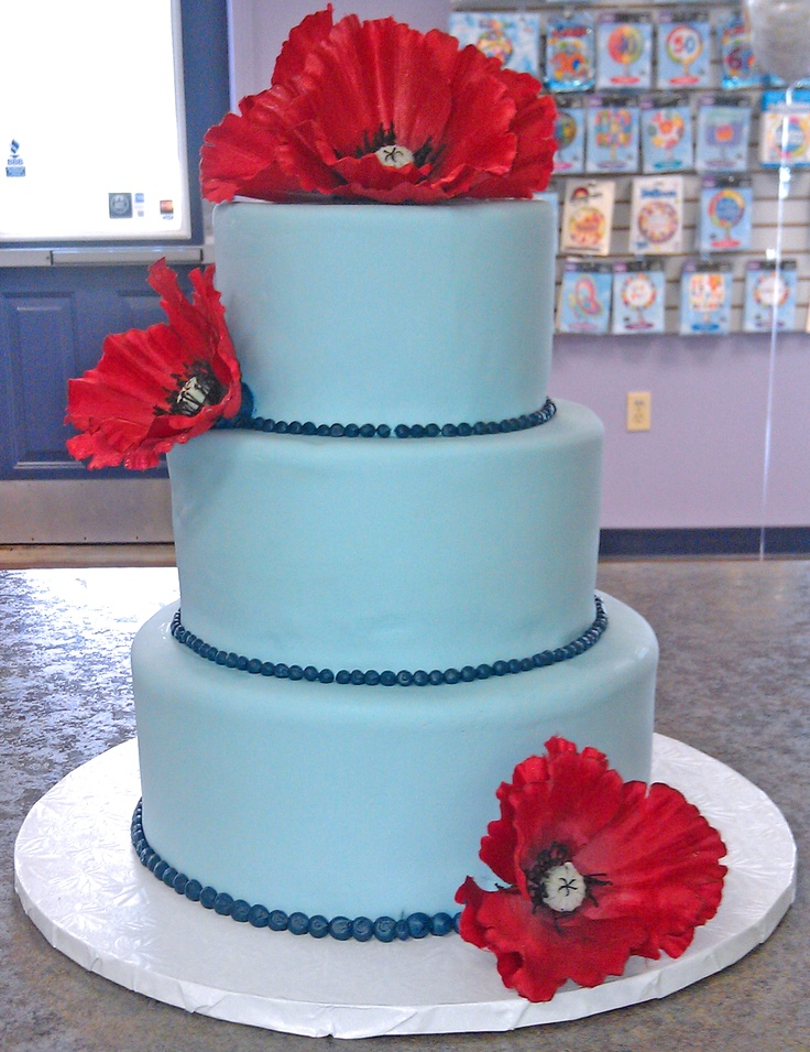 Sky Blue Cake Images : Frederick s Pastries sky blue with Red poppies wedding ...