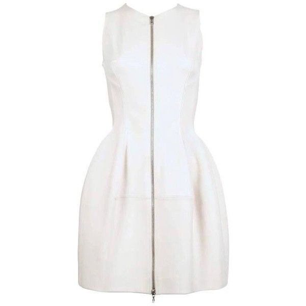 Preowned Azzedine Alaia Cream Tulip Dress With Zipper Front ($1,250) ❤ liked on Polyvore featuring dresses, cocktail dresses, white, stretchy dresses, zip front dresses, white dresses, alaia dress and white zip front dress