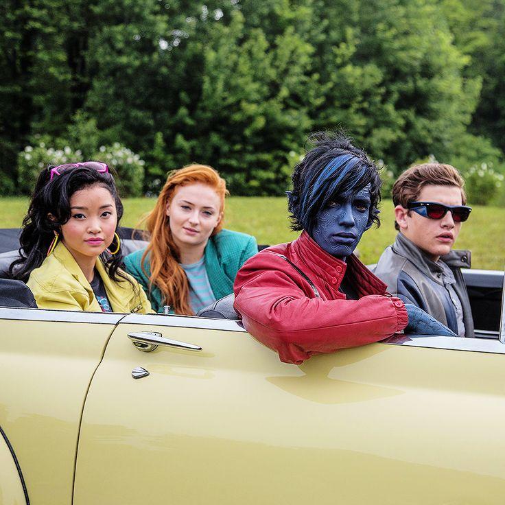 Lana Condor, Sophie Turner, Kodi Smit-McPhee and Tye Sheridan on set for X-Men: Apocalypse.