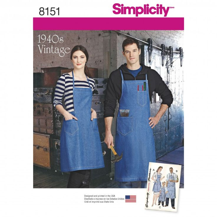 Simplicity Pattern 8151 Vintage Aprons for Boys, Girls, Women's and Men