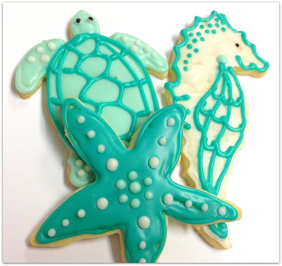 Sea Turtle Sugar Cookies Starfish Seahorse Decorated Cookie Nautical Favors