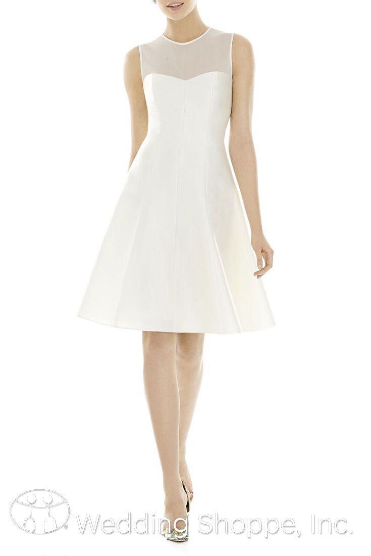 Simple and elegant illusion neckline bridesmaid dress.