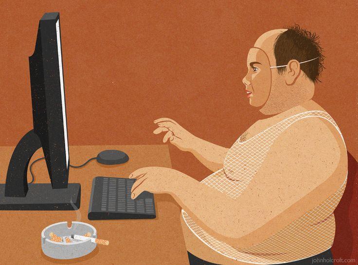 John Holcroft editorial and conceptual illustrator. Illustration about online predators.