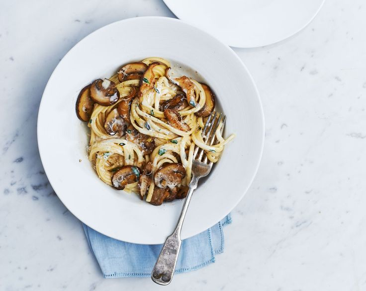 This indulgent pasta can be thrown together even on the busiest weeknight. Mushrooms cook faster when spread over a large surface, so choose your largest nonstick skillet. Top with an extra sprinkling of Parmesan, if desired.