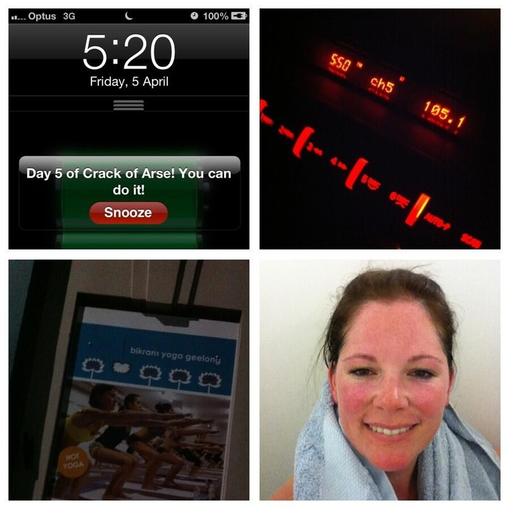 @Sharon Tonkin day 5 of #crackofarse completed! Feel like a million $$ after a wk of #bikram Will do it again next wk