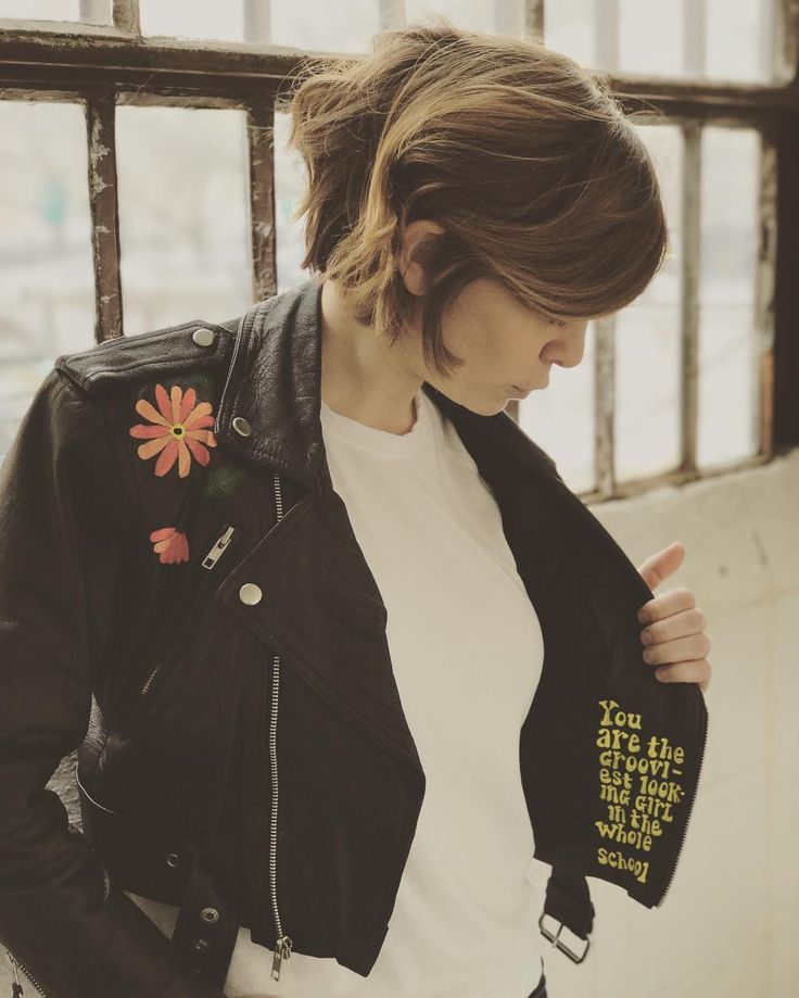 """Hand-painted vintage leather jacket in 70s motif. Inside lapel reads """"You are the grooviest looking girl in the whole school."""" For the modern Marsha Brady."""