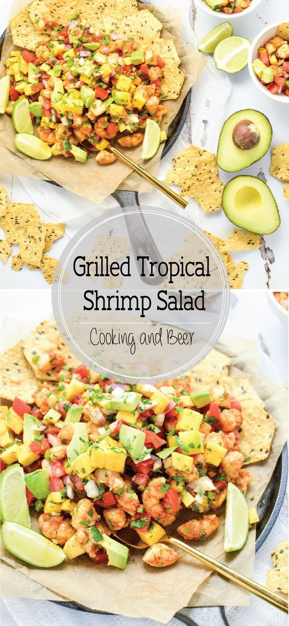 Grilled Tropical Shrimp Salad is a bright and summery salad that's perfect for your Memorial Day picnic! #ad @fstgchips #foodshouldtastegood