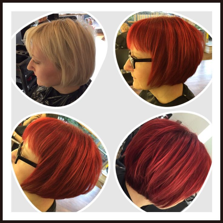 From blonde to red, using Paul Mitchell colours.