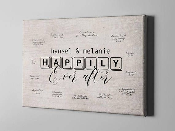 SALE 50% Off Canvas Guest Book Happily Ever After Signature