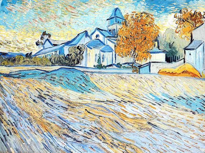Vincent Van Gogh - Post Impressionism - Saint REMY - Vue de l'église de Saint Paul de Mausole.