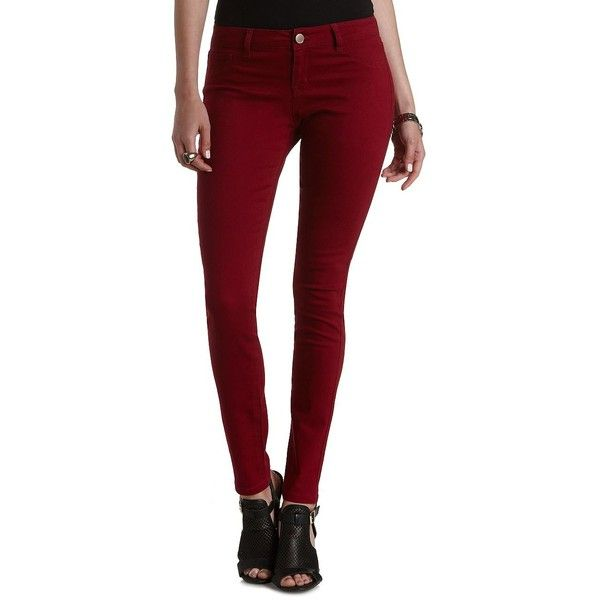"""Charlotte Russe Brick Red Refuge """"Skin Tight Legging"""" Colored Skinny... (£23) ❤ liked on Polyvore featuring jeans, pants, bottoms, leggings, brick red, denim jeans, zipper denim jeans, skinny fit jeans, charlotte russe and zipper skinny jeans"""