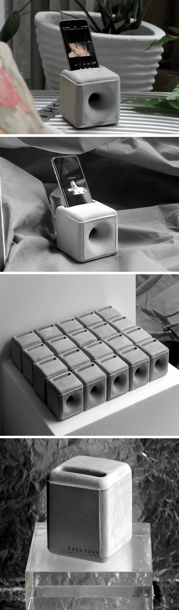 "You won't find any power cords, buttons, screws, or glue on this minimalistic music tool! It's called ""Le Bloc De Pierre"" and it's formed entirely of concrete. Designed for use with any 4.7″ iPhone, this cleverly crafted block is acoustically adapted to amplify sound from your phone's speaker up to 50%! Unlike true speakers, it's almost unrecognizable as an amplifier and makes for a sculptural accent to your desk, countertop, den, bathroom or kitchen."