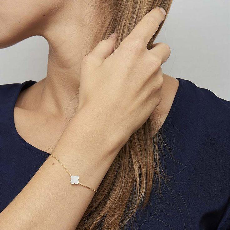 Bracelet Trèfle blanc nacré, Zag bijoux