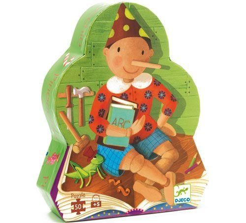 "Djeco / Shaped Box Puzzle, Pinocchio by Djeco. $16.99. 50-piece puzzle features highlights from the classic fairy tale Pinocchio. Designed in France by Monica San Cristobal. Panoramic puzzle measures 24"" wide x 8"" high. Large pieces are perfect for little hands just learning the fun of interlocking puzzles. For ages 5 years and older. Fun and learning - nothing brings them both together like a puzzle! Children learn pattern recognition, practice fine motor skills and ha..."