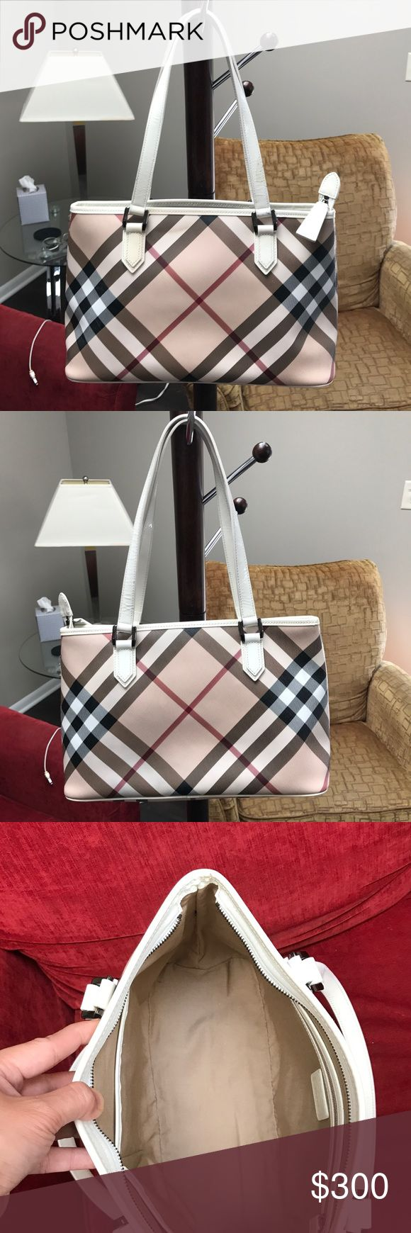 Burberry Tote Bag Authentic Tote Bag. No dustbag. Interior side is clean. Exterior side of bag has some stains and scuff in handles and somes scuffs in the 4 bottom side. Overall the bag still in good condition. Check all the pictures. Negotiable Burberry Bags Totes