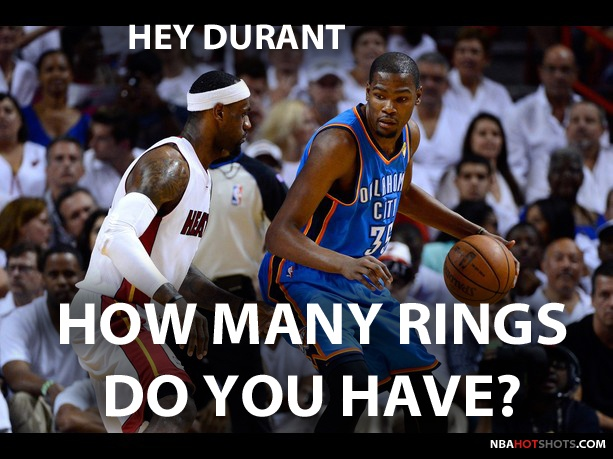 Memes lebron james asks kevin durant how many rings he for How many kids does kevin james have