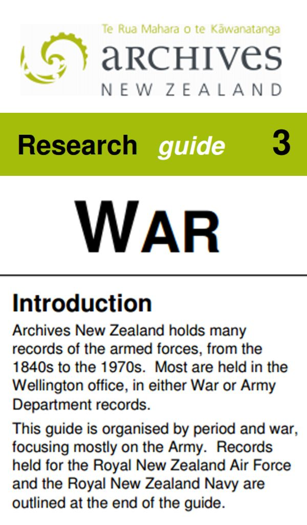Find out about the Archives NZ resources for tracing your military family.