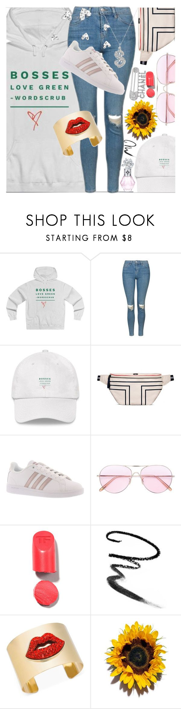 """""""Bosses Love Green!"""" by shop77spark ❤ liked on Polyvore featuring Topshop, adidas, Oliver Peoples, Maybelline, Thalia Sodi, Chanel, Sydney Evan, boss, Hoodies and polyvoreeditorial"""