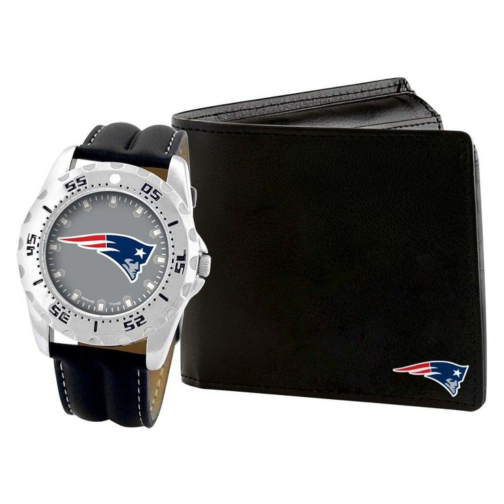Men's Game Time NFL Sports Watch and Wallet Set - Black / Silver - New England Patriots