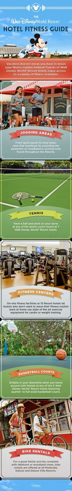A Walt Disney World vacation doesn't mean you have to leave your fitness routine behind! Enjoy a variety of activities including running, tennis, biking, and basketball when you stay at a Walt Disney World Resort hotel!