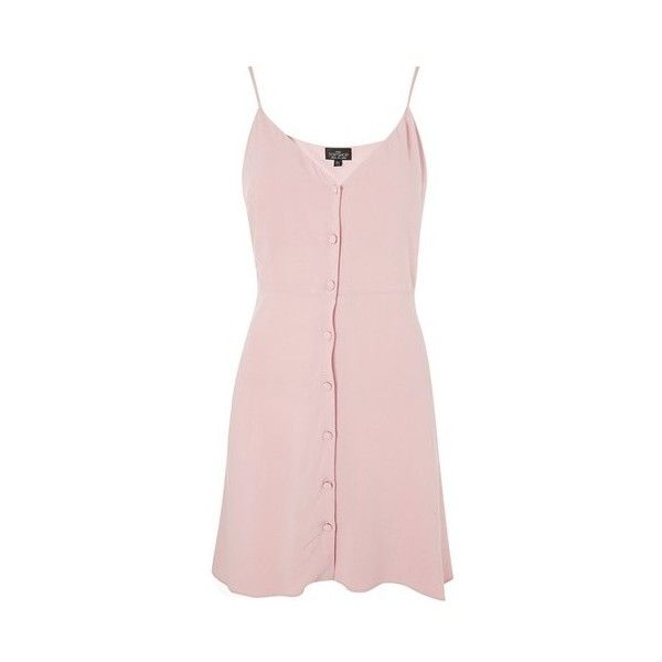 Topshop Petite Button Asymmetric Dress (50 CAD) ❤ liked on Polyvore featuring dresses, pale pink, pale pink dress, pink dress, pink button up dress, asymmetrical dresses and strap dress