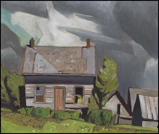 """Log Cabin, Redmond Bay, Lake Baptiste,"" Alfred Joseph (A.J.) Casson, oil on board, 9 3/8 x 11 1/4"", private collection."