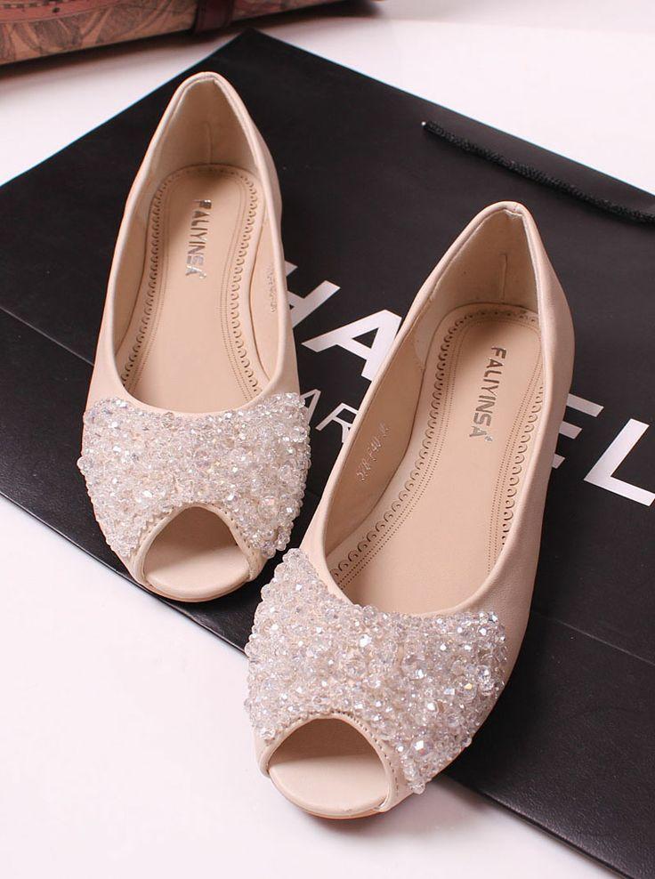 Princess luxury rhinestone beaded flat fashion open toe flat heel sandals  flat female shoes-inSandals