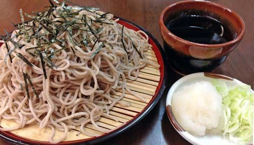 Zaru soba (ざるそば) is Japanese chilled noodles served on a bamboo tray (zaru, ざる), served with a cold broth called tsuyu (つゆ). It is a great alternative to pasta, and makes for a filling and a very nutritious meal. It is also Gluten-free. Zaru soba is easy to prepare, and perfect to have on a hot summer's day.