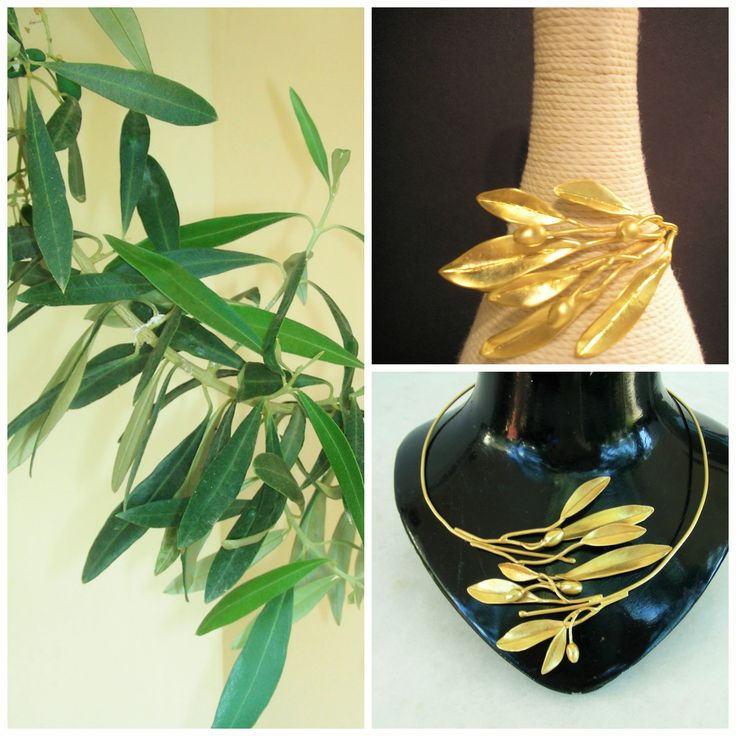"""Handmade goldplated bronze neclace """"Olive branch"""""""