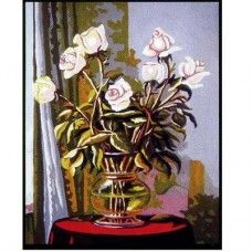 Collection D'Art 6.243 White Roses in a Vase Tapestry Canvas