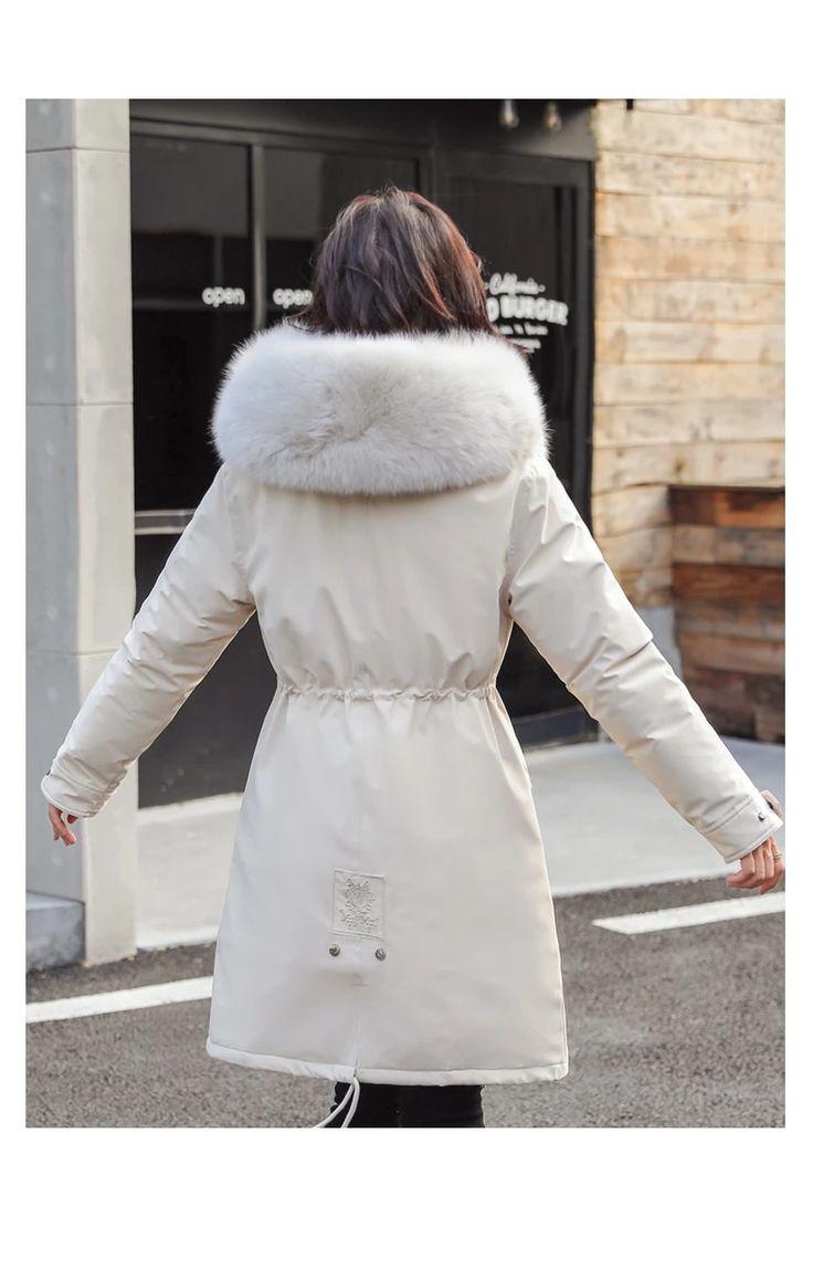Women Long Coat Autumn Winter Warm Velvet Thicken Faux Fur Parka – GaGodeal
