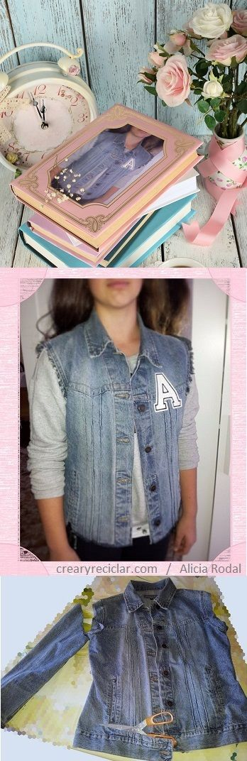 Aunque persigas la moda….ella siempre irá por delante. Mira que fácil y rápido es transformar una chaqueta en un chaleco….y conseguir un look más actual. http://crearyreciclar.com/?p=777