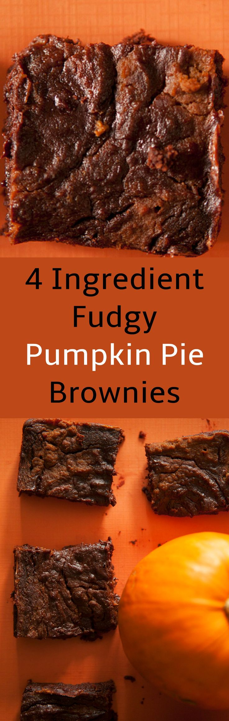 Delicious and Extra Fudgy 4 Ingredient Pumpkin Pie Brownies.  All you need is brownie mix, pumpkin puree, pumpkin pie spice and chocolate chips!
