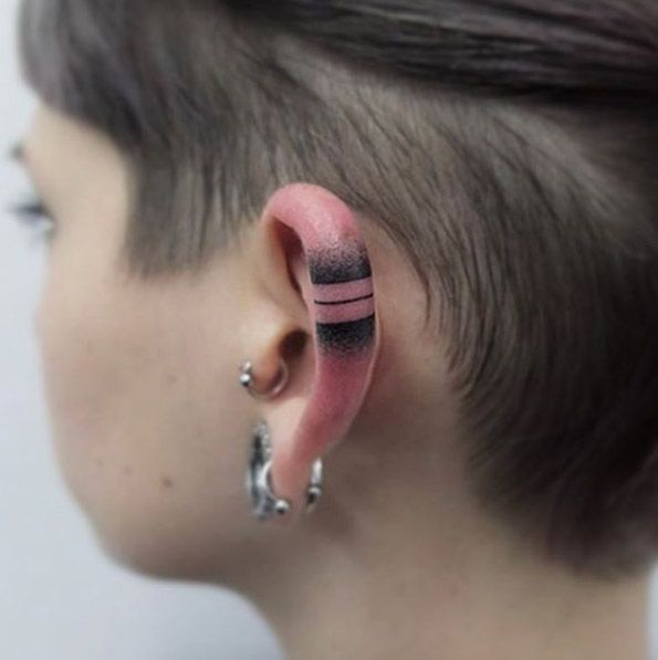 Back Ear Tattoo by Indy