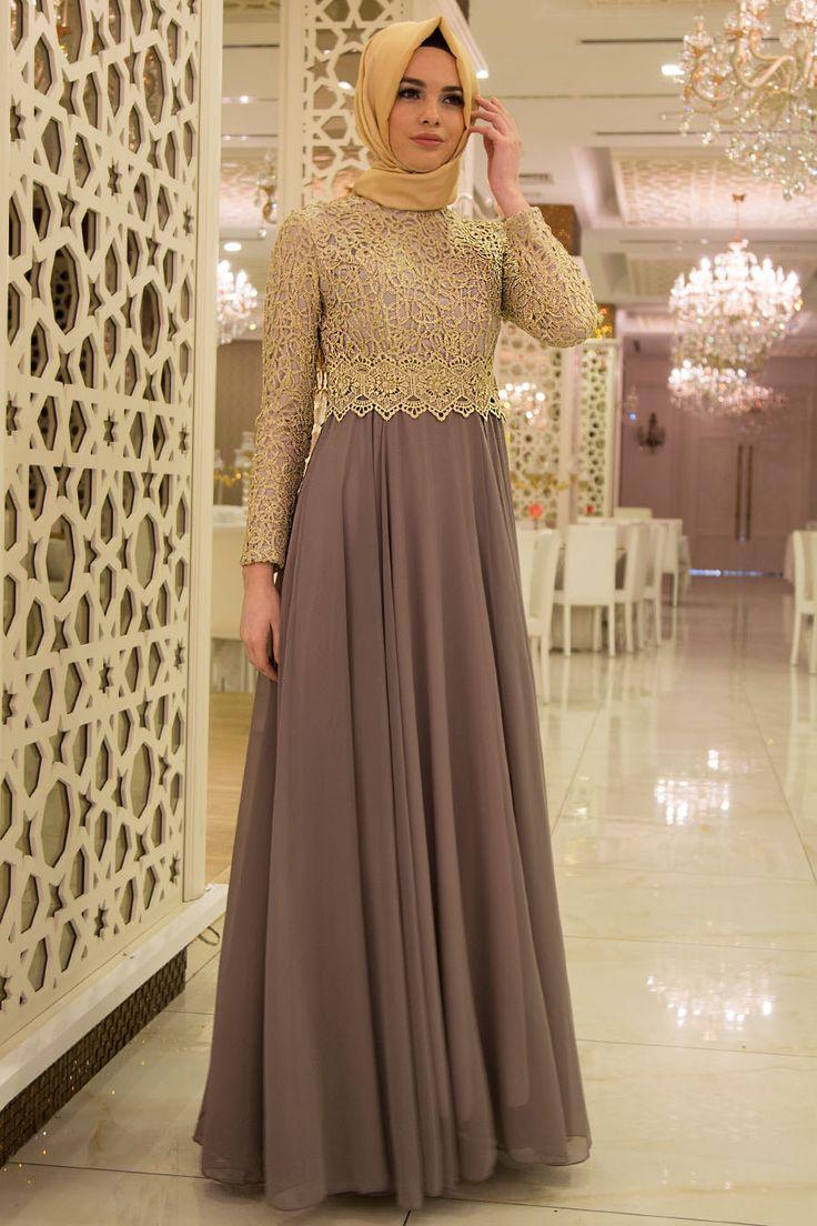 Nayla Collection - Gold Dantelli Gri Tesettür Abiye Elbise 3347GR