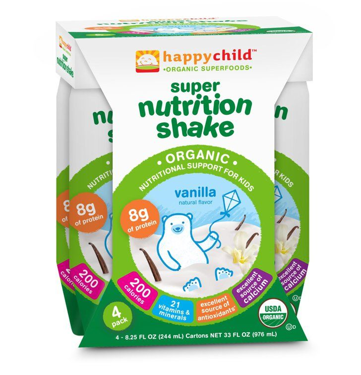 Pin for Later: 17 Smart Snacks For Back to School Days Happy Child Super Nutrition Shake Happy Child Super Nutrition Shakes ($4) help balance out your tot's diet by providing protein, fiber, and 21 vitamins and minerals.