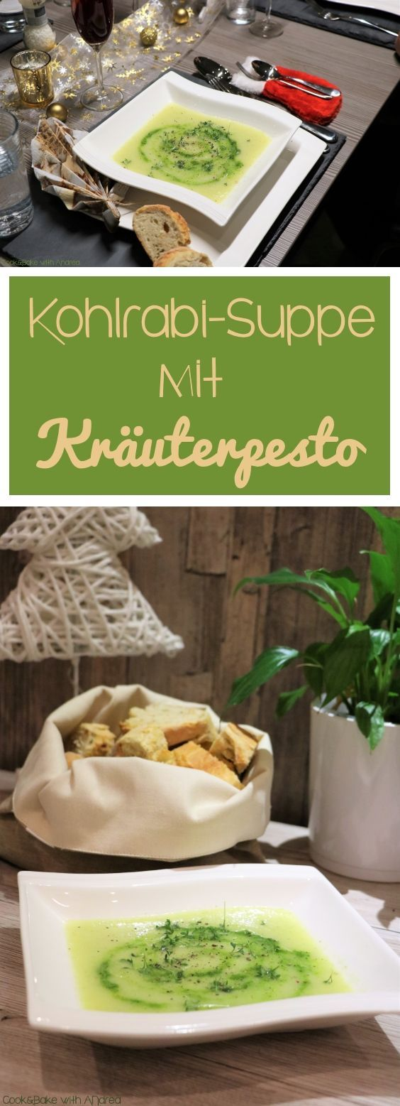 Kohlrabi-Suppe mit Kräuterpesto und Kresse
