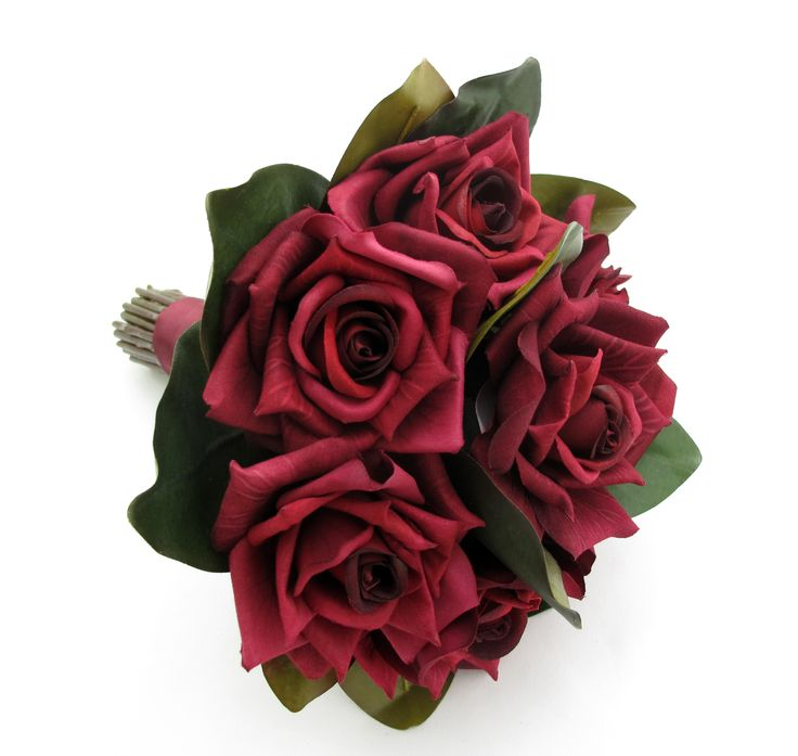 Wine Rose Bouquet -  featuring magnolia leaves. The two-tone foliage gives a bold, contemporary look.